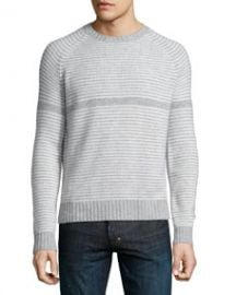 Neiman Marcus Neiman Marcus Cashmere by Billy Reid Striped Crewneck Sweater Gray at Neiman Marcus