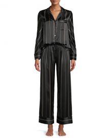 Neiman Marcus Pinstripe Two-Piece Pinstripe Silk Pajama Set at Neiman Marcus