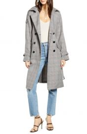 Nele Windowpane Plaid Trench Coat at Nordstrom