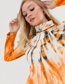 Neon Rose high neck fitted top in dark tie dye   ASOS at Asos