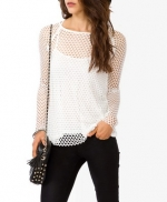 Netted top in white at Forever 21 at Forever 21