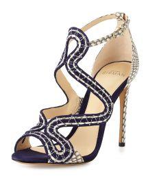 New Alice Suede/Snake Sandal by Alexandre Birman at Bergdorf Goodman