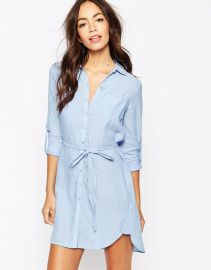 New Look Chambray Longline Shirt Dress at Asos