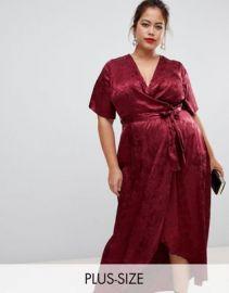 New Look Curve jacquard dress in burgandy at asos com at Asos