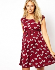 New Look Maternity  New Look Maternity Butterfly Print Waisted Dress at Asos