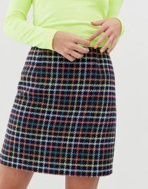 New Look Mini Skirt in Check at ASOS