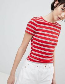 New Look Stripe Rib Tee at asos com at Asos