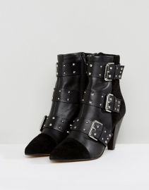 New Look Stud Buckle Ankle Boot With Cone Heel at ASOS