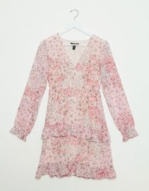 New Look chiffon tiered mini dress in pink ditsy floral print at Asos