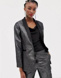 New Look satin tux blazer in silver   ASOS at Asos
