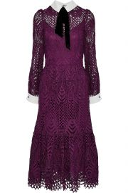 New Moon velvet-trimmed corded lace midi dress at The Outnet