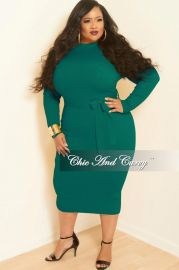 New Plus Size Rib Knitted Dress with Front Pockets in Green at Chic & Curvy