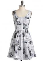 Newspaper print dress at Modcloth