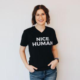 Nice human v-neck tee at Nice Branding