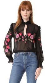 Nicholas Peony Embroidered Ruffle Shirt at Shopbop