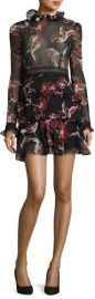 Nicholas French Floral Ruffle-Trim Mini Dress at Neiman Marcus