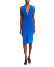 Nicholas Sleeveless V-Neck Sheath Dress Royal at Neiman Marcus