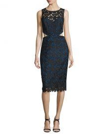 Nicole Miller Venice Sleeveless Solid Lace Cutout Dress  Black Cobalt at Neiman Marcus