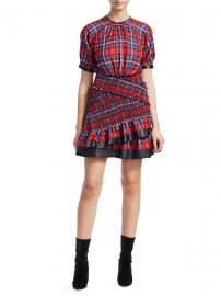 Nicole Plaid Ruffled Mini Dress at Saks Fifth Avenue