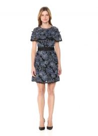Nicole Miller  Denim Lace Ruffle Dress at Amazon