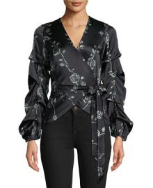 Nicole Miller Floral-Print Wrap Top   Reviews - Tops - Women - Macy s at Macys