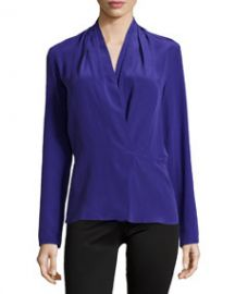 Nicole Miller Pleated-Shoulder Long-Sleeve Blouse Ultra Blue at Neiman Marcus