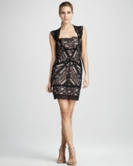 Nicole Miller Stretch-Lace Cocktail Dress at Neiman Marcus