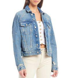 Night After Night Distressed Studded Embellished Detail Denim Jacket at Dillards