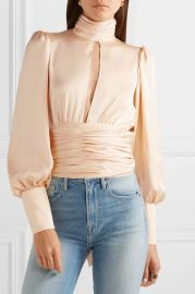 Night Out open-back ruched satin blouse at Net A Porter