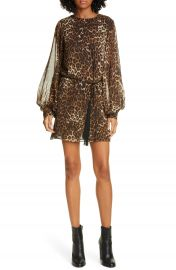 Nili Lotan Rebeca Leopard Print Silk Long Sleeve Minidress   Nordstrom at Nordstrom