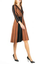 Nina Leonard   Stripe Surplice Neck Fit  amp  Flare Dress   Nordstrom Rack at Nordstrom Rack