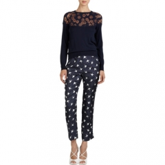 Nina Ricci Floral Devorandeacute Yoke Sweater at Barneys