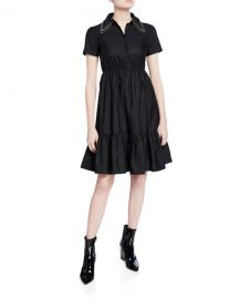 No  21 Collared Short-Sleeve Dress with Crystals at Neiman Marcus