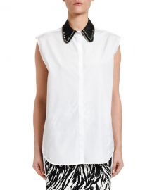 No  21 Collared Sleeveless Button-Down Blouse at Neiman Marcus