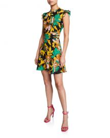 No  21 Floral-Print Cap-Sleeve Silk Dress at Neiman Marcus
