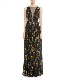 No  21 Sleeveless Floral-Print Long Evening Gown   Neiman Marcus at Neiman Marcus