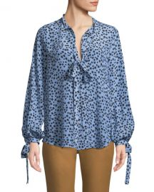 No  21 Star-Print Tie-Neck Silk Button-Front Shirt at Neiman Marcus