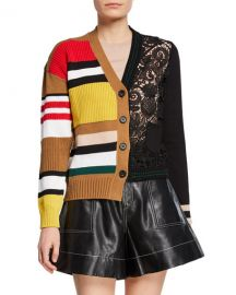 No  21 Striped And Lace Cardigan at Neiman Marcus