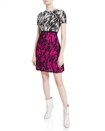 No  21 Two-Tone Printed Short-Sleeve Mini Dress at Neiman Marcus