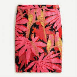 No 2 Pencil Skirt in Palm Print Grass Cloth at J. Crew