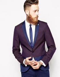 Noose and Monkey  Noose and Monkey Skinny Suit Jacket With Block Detail at Asos