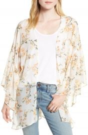 Nordstrom Floral Print Ruffle Sleeve Kimono at Nordstrom