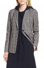 Nordstrom Signature Elbow Patch Plaid Stretch Wool Jacket at Nordstrom