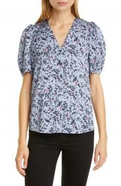 Nordstrom Signature Floral Puff Sleeve Stretch Silk Top   Nordstrom at Nordstrom