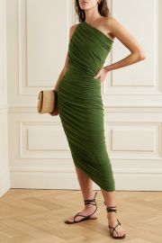 Norma Kamali - Diana one-shoulder ruched stretch-jersey dress at Net A Porter