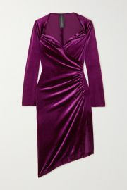 Norma Kamali - Asymmetric wrap-effect ruched stretch-velvet dress at Net A Porter