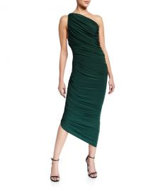 Norma Kamali Diana Ruched One-Shoulder Asymmetric Gown at Neiman Marcus