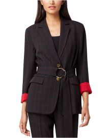 Notch Collar Belted Windowpane Jacket with Hardware at Amazon