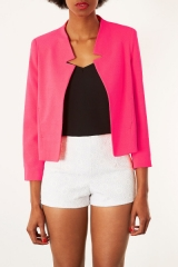 Notch Neck Jacket in Fluro Pink at Topshop