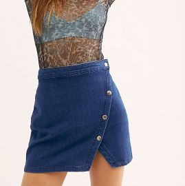 Notched Denim Mini Skirt at Free People